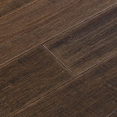 Cali Bamboo   Solid Bamboo Flooring, Dark Brown Vintage Port, Heavy  Distressed   Sample