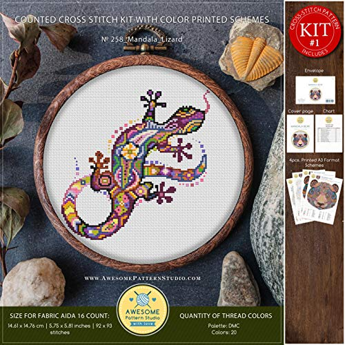 Mandala Lizard #K258 Embroidery Cross Stitch Kit | Funny Animals Stitching | Embroidery Kits | Needlepoint | Embroidery Designs | Stitch - Lizards Awesome