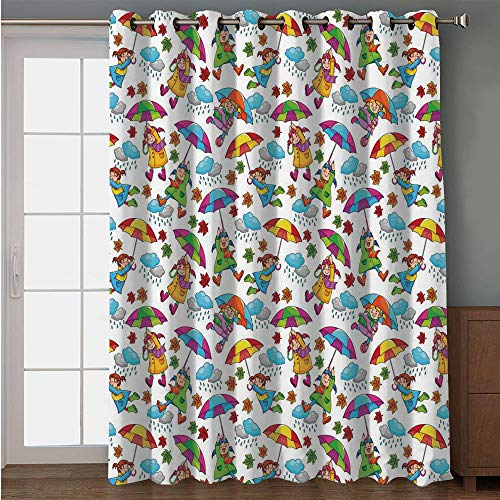 Blackout Patio Door Curtain,Kids,Cute Girls in Coats Holding Umbrellas Windy Autumn Weather Rainy Clouds Falling Leaves,Multicolor,for Sliding & Patio Doors, 102