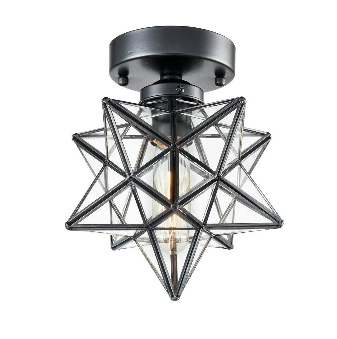 AXILAND Industrial Moravian Star Ceiling Light with 8-inch Glass Shade, 1 Light