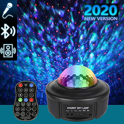Gyrategirl Night Light Projector Star, Ocean Wave Sky Starry Projector with Bluetooth Music Speaker, Rotating LED Nebula Light for Baby Kids Bedroom Decor Home Theatre/Night Light Ambiance