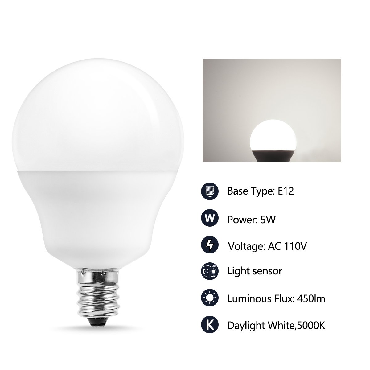 JandCase E12 Light Sensor Candelabra Bulb, Dusk to Dawn LED Bulbs for Porch, Daylight White(5000K), 40W Equivalent, 5W, 450lm, G14 Automatic Indoor/Outdoor Security Lights for Patio, Hallway, 4 Pack by JandCase (Image #3)