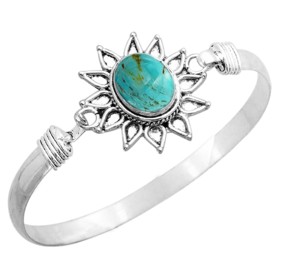 925 Silver Plated 8.70ct, Genuine Turquoise Bangle
