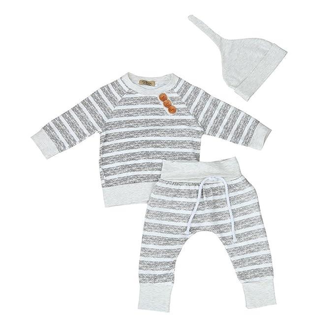 SMARTLADY 3PC/SET Camisetas de manga larga + Pantalones + Sombrero para Bebe Niños Otoño