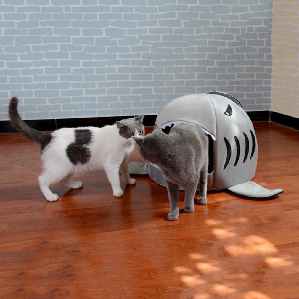 Única boca de tiburón en forma de mascota cama para perros suave y cálida casa de perro de felpa impermeable mascota nido de perro nido cálido para gato ...