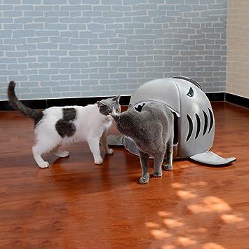 Única boca de tiburón en forma de mascota cama para perros suave y cálida casa de