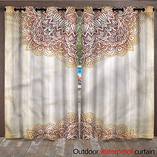BDDLS Outdoor Cabana Curtain - Stain Proof Awning Shade for Lawn & Garden Thermal Insulated Water Proof Patio Drape with Tab Top, 2 Panel, W84x96L,Multi