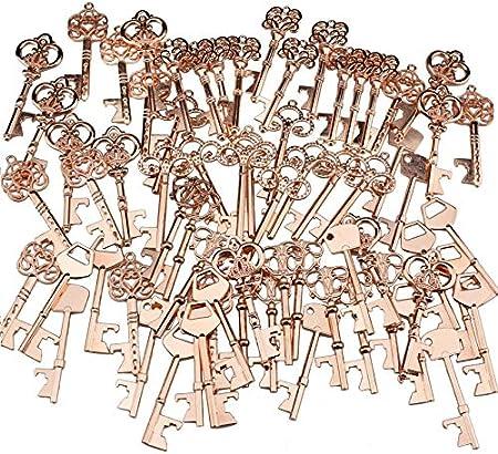 Abrebotellas con diseño de esqueleto vintage, para bodas, fiestas, color dorado