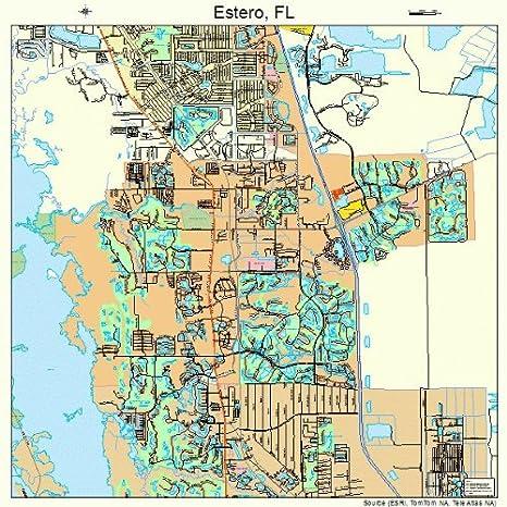 Florida Road Map Atlas.Amazon Com Large Street Road Map Of Estero Florida Fl Printed