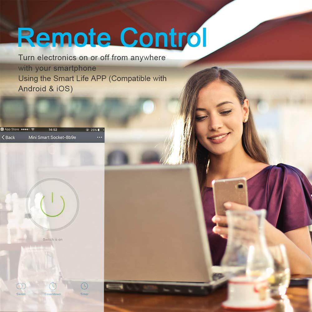 Prise Intelligente Wifi Compatible avec Alexa,Google Home 16A R/égler lHoraire SLITINTO Mini Connect/ée Smart Outlet avec T/él/écommande moniteur d/énergie Aucune Hub Requis et,IFTTT