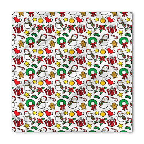 Lunarable Unisex Bandana, Christmas Wreath Candy Cane Snowman, White Red