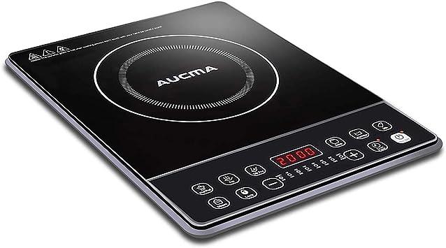 AUCMA Placa inducción, eléctrica Placa de inducción, diseño portátil Ultra Delgado, Sensor de Control táctily Cerradura de ...