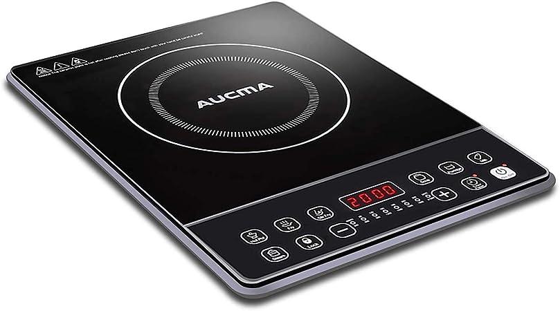 AUCMA Placa inducción, eléctrica Placa de inducción, diseño portátil Ultra Delgado, Sensor de Control táctily Cerradura de Seguridad,Temporizador,2000W: Amazon.es: Hogar
