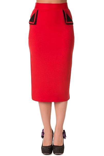 Banned - Falda - para Mujer Rojo X-Small: Amazon.es: Ropa y accesorios