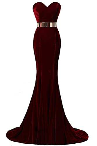 YSFS Women's Velvet With Belt Long Evening Dress Prom Gown