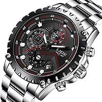 Pour homme Sport montres à quartz de luxe Business étanche en acier inoxydable chronographe Cadran noir montre