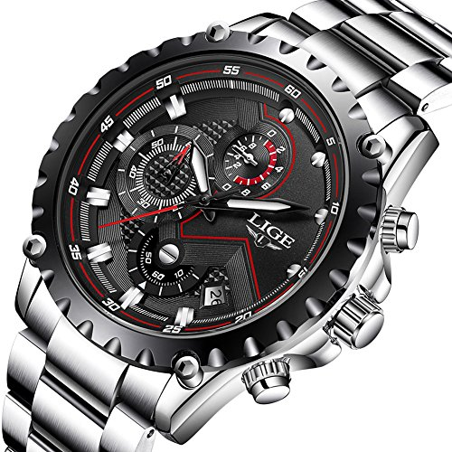 Men's Sport Quartz Watches Luxury Business Waterproof Stainless Steel Chronograph Black Dial Watch