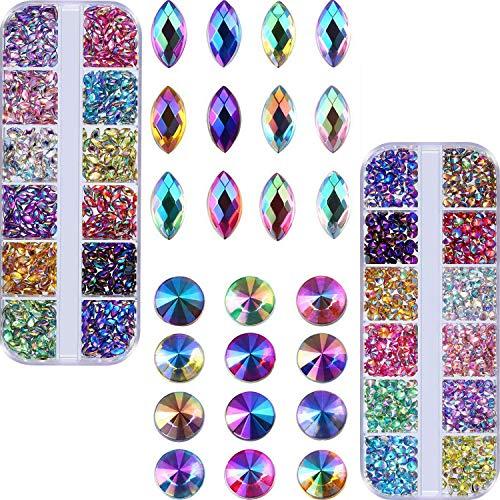 Bememo Shiny AB Nail Rhinestones Gem Stones for Nail Art Decorations Supplies Crafts Clothes (1200 Flat Black Point and Horse Eye Rhinestones)