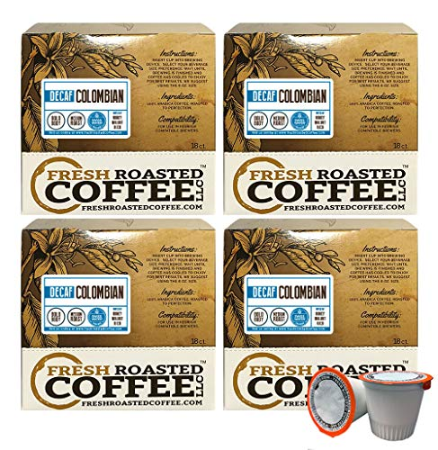 Fresh Roasted Coffee LLC, Swiss Water Decaf Colombian Coffee Pods, Medium Roast, Single Origin, Capsules Compatible with 1.0 & 2.0 Single-Serve Brewers, 72 Count (Colombian Swiss Water)