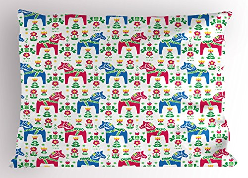 Ambesonne Horses Pillow Sham, Classic Swedish Dalecarlian Coral Azure Blue Animals and Green Floral Arrangement, Decorative Standard Queen Size Printed Pillowcase, 30 X 20 inches, Multicolor by Ambesonne