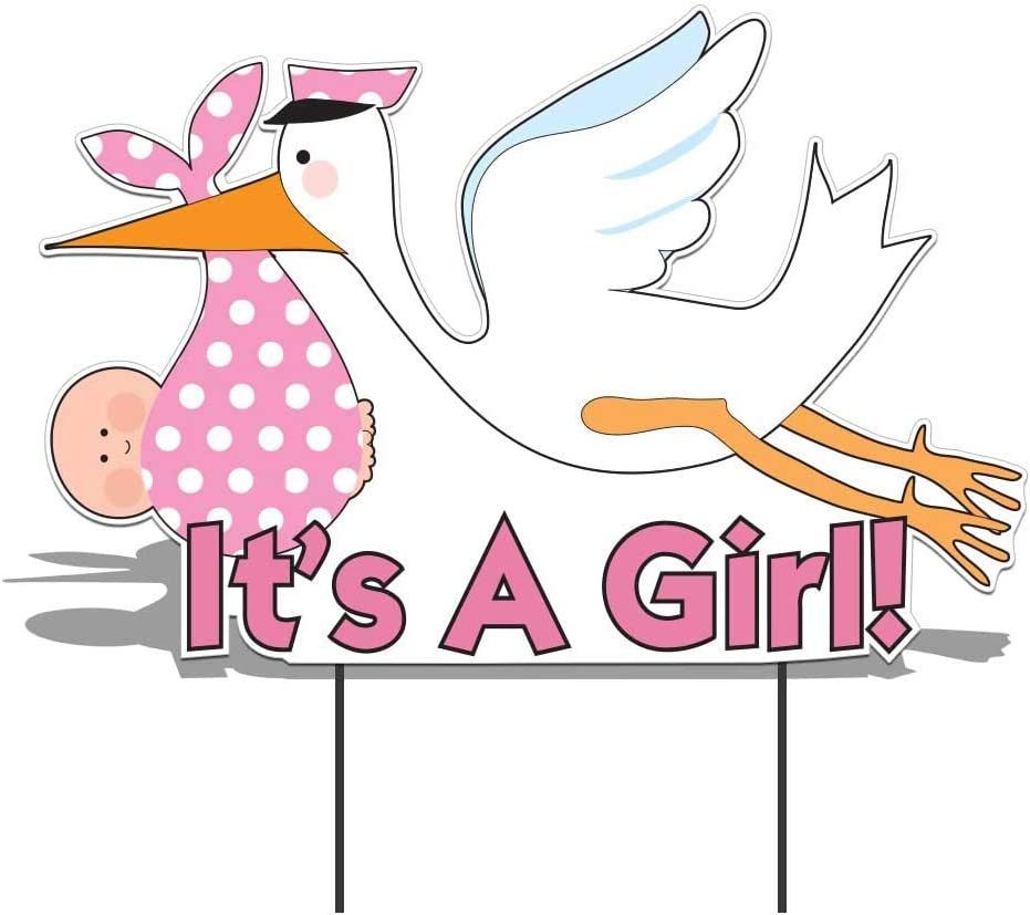 "VictoryStore Yard Sign Outdoor Lawn Decorations -  ""It's a Girl"" Die Cut Stork, Baby Announcement Yard Sign (Light Skin Toned Baby)"