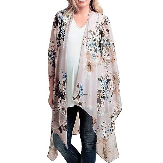 9b0806edd0b40 VonVonCo Pullover Sweaters for Women, Chiffon Shawl Print Kimono Cardigan  Top Cover Up Blouse Beachwear S-XXL
