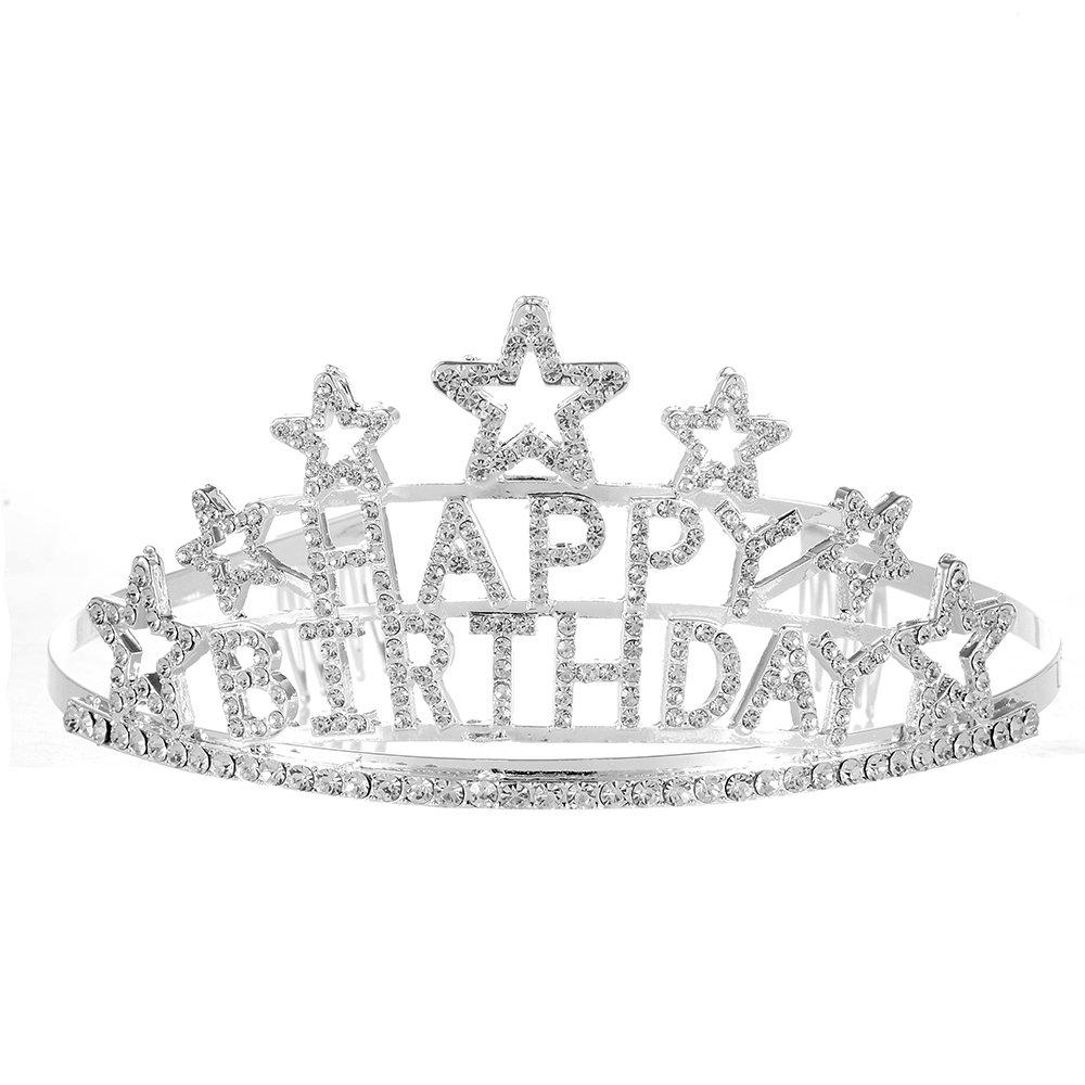 Qixuan Charming Happy Birthday Rhinestone Heart Flower Design Tiara Crown Headband Comb Pin Happy Birthday Tiaras (White)
