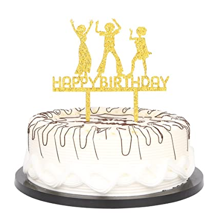 Amazon Gold Glitter Happy Birthday Cake Topper First