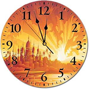 Asian Decor 3D Print Round Wall Clock,Golden City Under Dragon Fire Sky Palace Mythical Magical Legendary City Scenery 10 Inch Battery Operated Quartz Analog Quiet Desk Clock,Orange Yellow