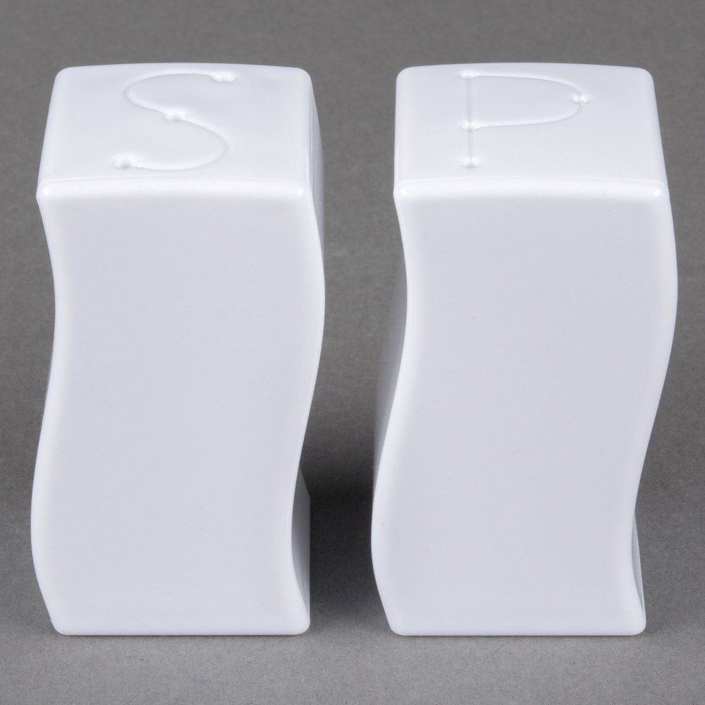 Fineline Tiny Temptations 610102-WH Tiny Twinnies White Plastic Salt and Pepper Shakers - 12/Case TableTop King