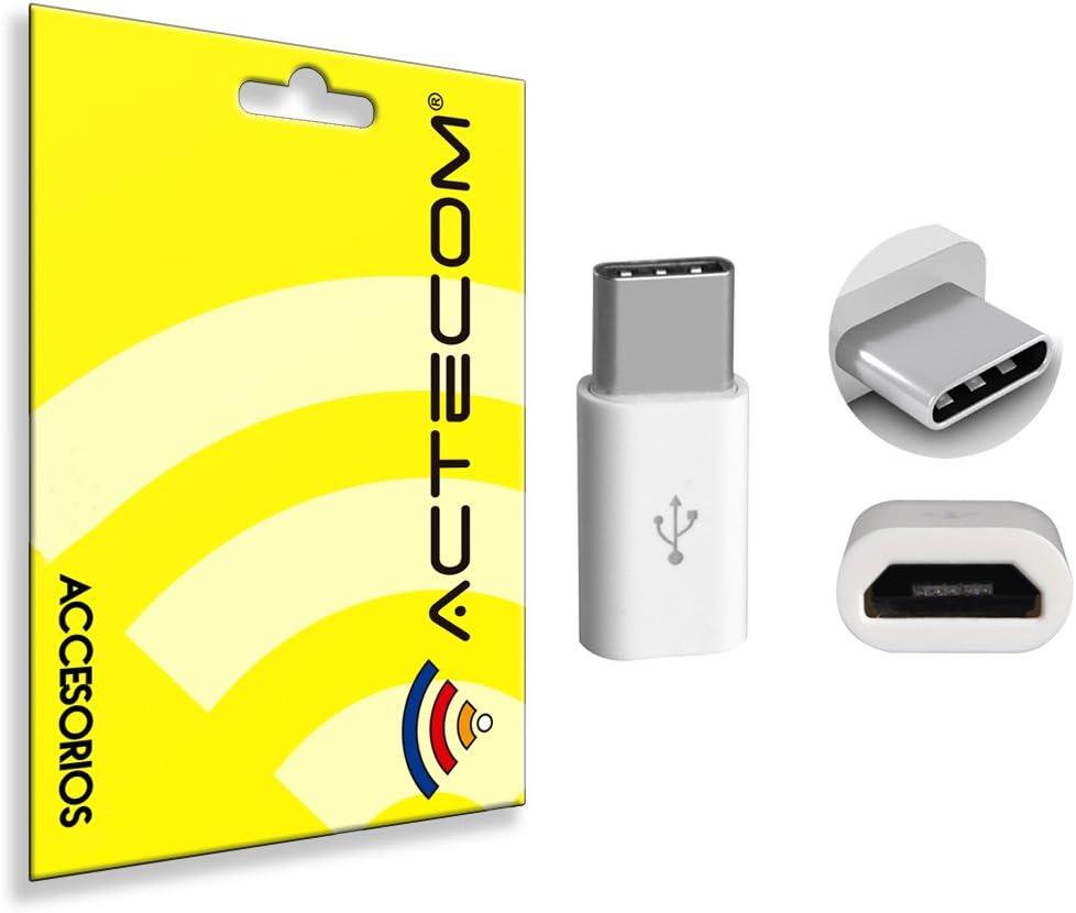 actecom Adaptador Micro USB a USB Tipo C 3.1 Conversor (Blanco)