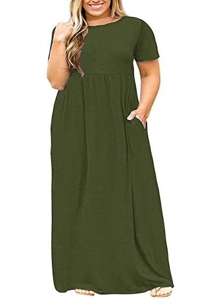 Plus Size Womens Dresses Casual Short Sleeve Loose Plain Long Maxi T Shirt  Dress with Pockets