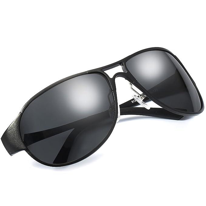LVIOE Gafas de Sol Aviador Hombre Polarizadas Clásico Al-Mg Aleación 100% UVA &