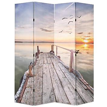 Festnight Klappbar Raumteiler Paravent Raumtrenner Dekorative Sichtschutz Zusammenklappbar 160 x 180 cm Muster See mit Steg