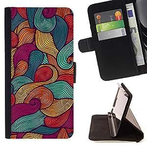 Momo Phone Case / Flip Funda de Cuero Case Cover - Pintura Arte Waves Surf Verano Sun - Samsung Galaxy J3 GSM-J300