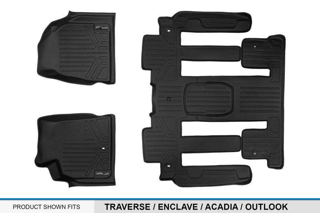 SMARTLINER Floor Mats 2 Row Liner Set Black for Traverse//Enclave//Acadia//Outlook with 2nd Row Bucket Seats