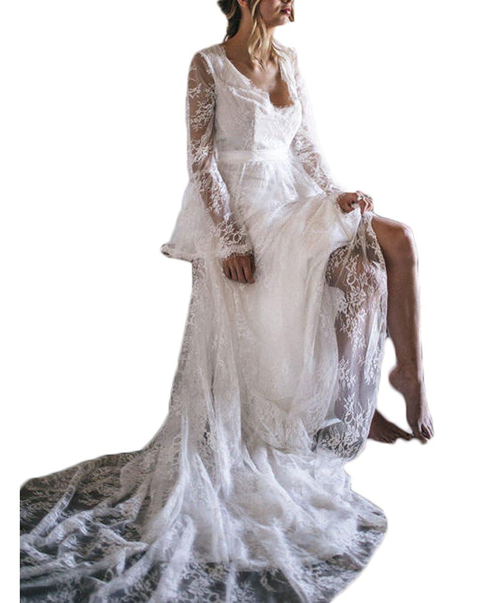 Alilithz Sexy V Neck Beach Boho Wedding Dresses For Bride Lace