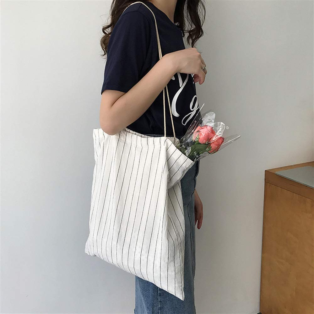 WHXYAA Ladies Canvas Shoulder Commuting Tote Bag Large-Capacity Shopping Beach Bag White Vertical Stripes Simple Atmosphere