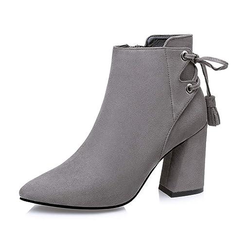 Botas de Mujer Tacones Altos Encajes Botines Botas de Ante Botas de tacón Cuadrado Botas: Amazon.es: Zapatos y complementos