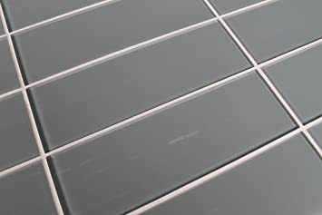 Sample Color Swatch Of Chimney Smoke Light Gray 4x12 Glass Subway