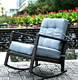 Merax Cushioned Rattan Rocker Chair Rocking Armchair Chair Outdoor Patio Glider Lounge Wicker Chair Furniture with Cushion