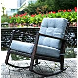 Beau Merax Cushioned Rattan Rocker Chair Rocking Armchair Chair Outdoor Patio  Glider Lounge Wicker Chair Furniture With