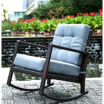 Merax Cushioned Rattan Rocker Chair Rocking Armchair Chair Outdoor Patio  Glider Lounge Wicker Chair Furniture With Cushion (Grey Cushion)