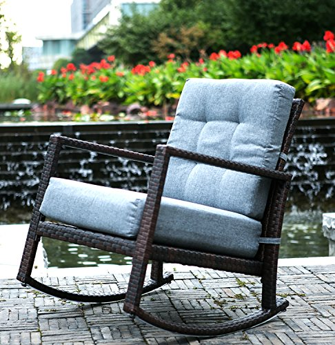 Merax Cushioned Rattan Rocker Chair Rocking Armchair Chair Outdoor Patio Glider Lounge Wicker Chair Furniture with Cushion (Grey Cushion) - Patio Furniture Rocking Chairs