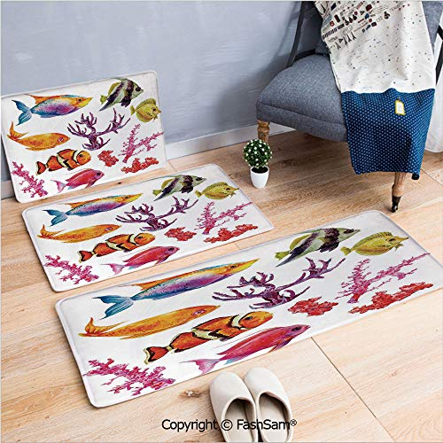 - 3 Piece Non Slip Flannel Door Mat Illustration of Tropical Fish Seaweed Coral Algae and Jellyfish Oceanic Wild Life Indoor Carpet for Bath Kitchen(W15.7xL23.6 by W19.6xL31.5 by W35.4xL62.9)