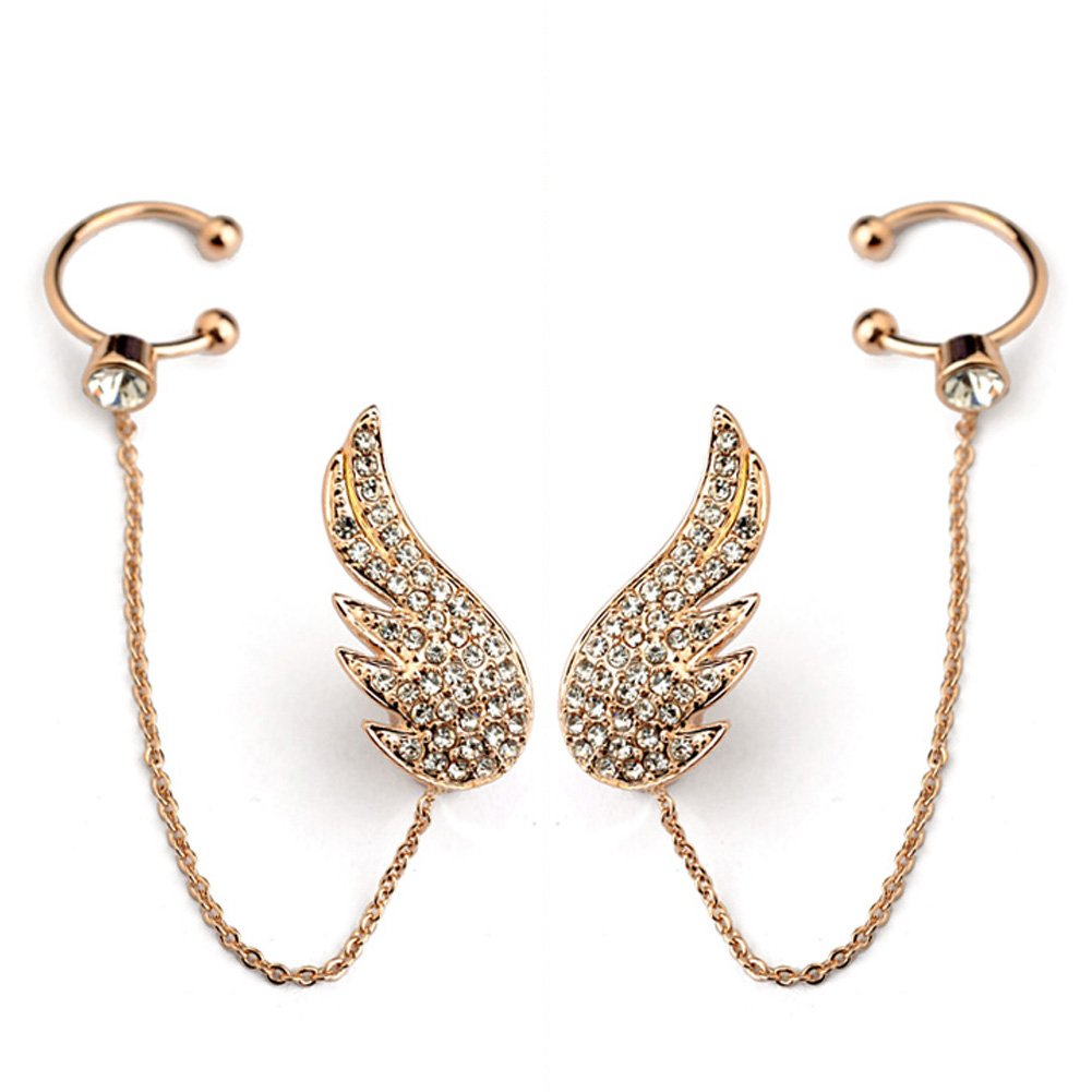Star Jewelry Pave Setting Cystal Angel Wing Long Earrings For Women Wedding Gold Jewelry 1874019
