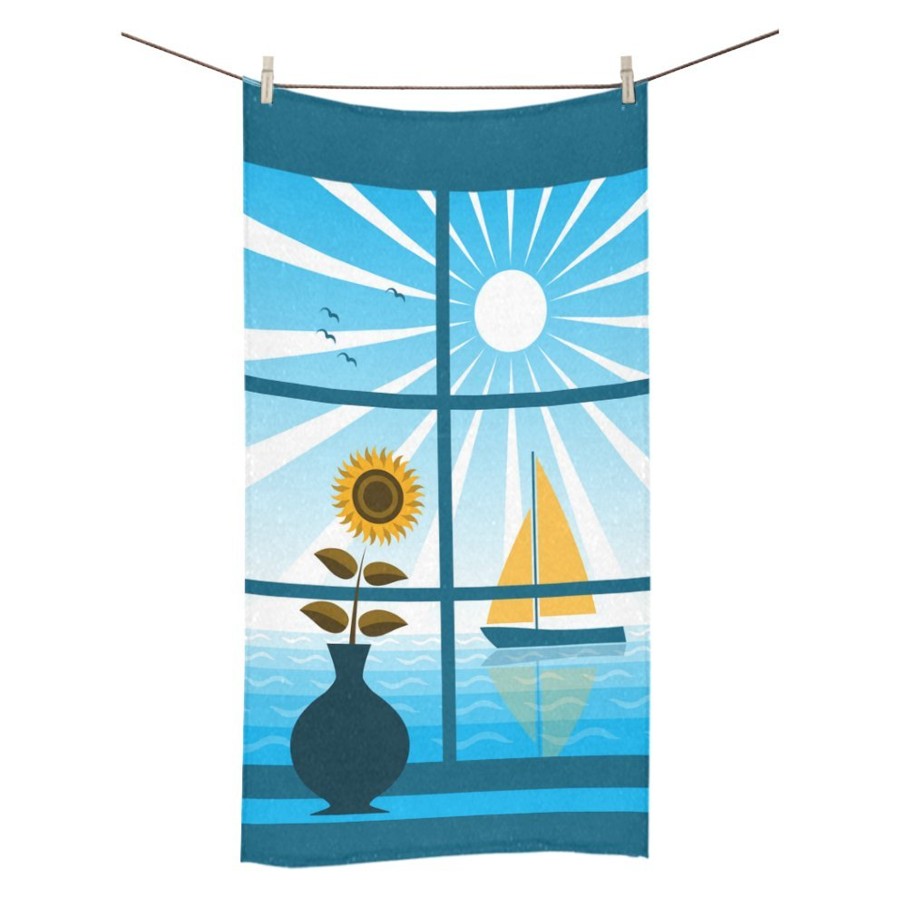 Artsadd Fashion Custom Towel Sailboat Outside Window Sunflower Bath Towel 30x56 Inch Bathroom Towel Beach Sunbath Softness