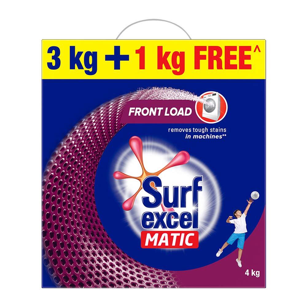 Surf Excel Matic Front Load Detergent Powder, 3 Kg + 1 kg Free product image