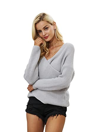 Simplee Women s Autumn Winter Casual Loose V Neck Long Sleeve Pullover  Sweater Gray 9eb6704d5