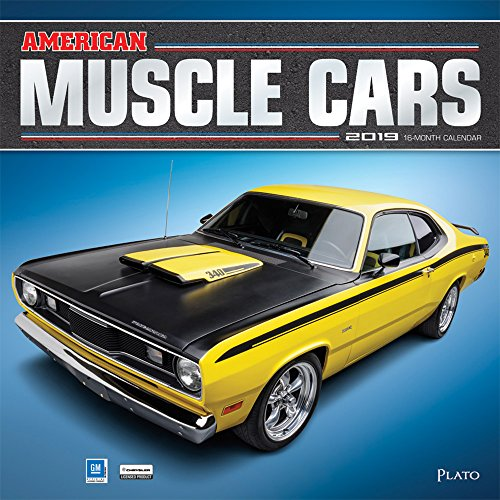 American Muscle Cars 2019 12 x 12 Inch Monthly Square Wall Calendar with Foil Stamped Cover by Plato, USA Motor Ford Chevrolet Chrysler Oldsmobile Pontiac ()
